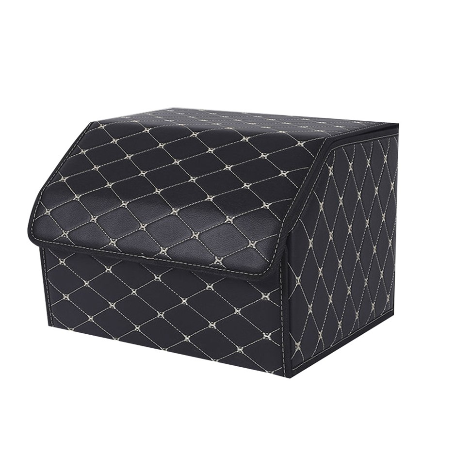 SOGA Car Boot Collapsible Storage Box Black/Gold Stitch Medium