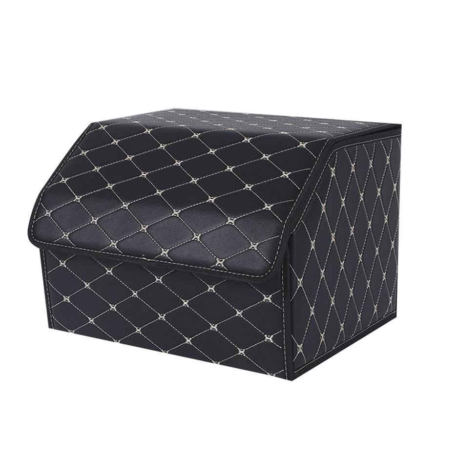 SOGA Car Boot Collapsible Storage Box Black/Gold Stitch Medium