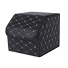 SOGA Car Boot Collapsible Storage Box Box Black/Gold Stitch Small