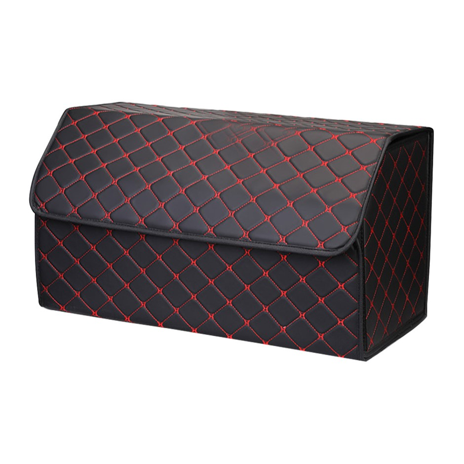 SOGA Car Boot Collapsible Storage Box Black/Red Stitch Large