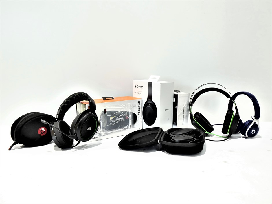 Bundle of Used & Untested Headphones and wireless speaker