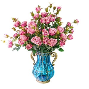 SOGA Glass Flower Vase with 10 Bunch 6 H