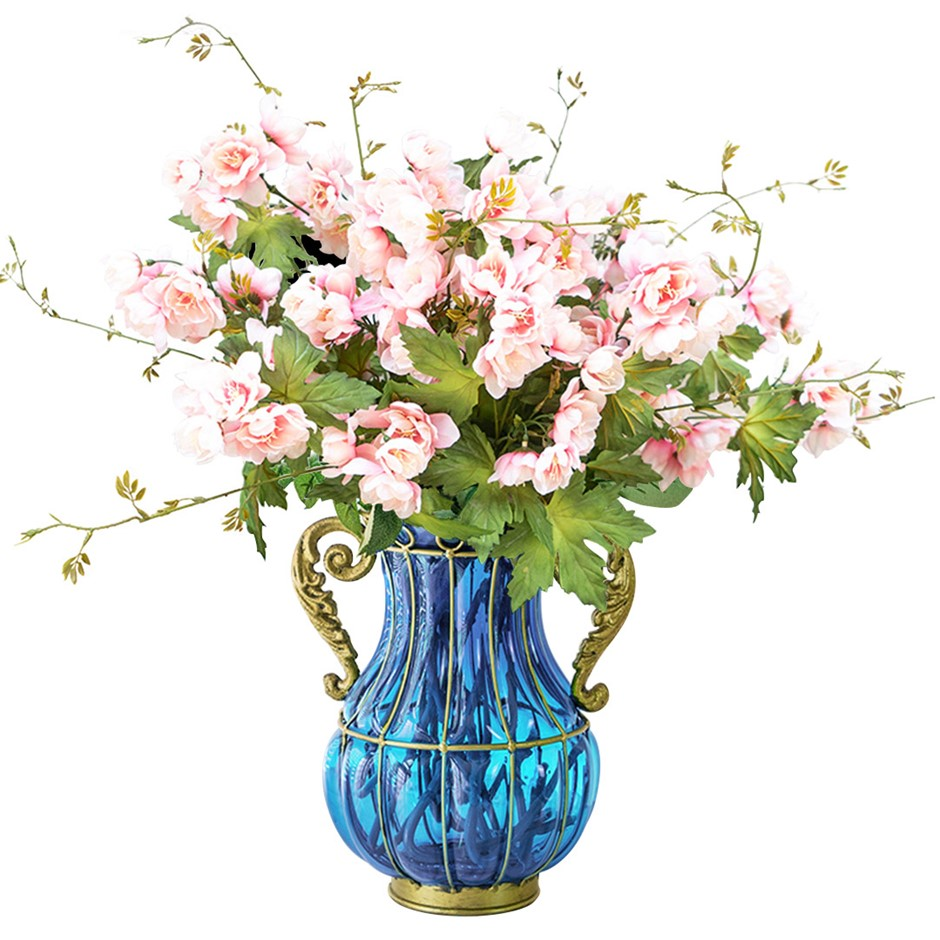 SOGA Glass Flower Vase with 8 Bunch 3 Heads Artificial Hibiscus Set