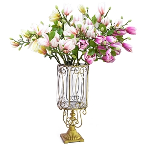 SOGA Flower Vase & 6 Bunch 4 Heads Artif