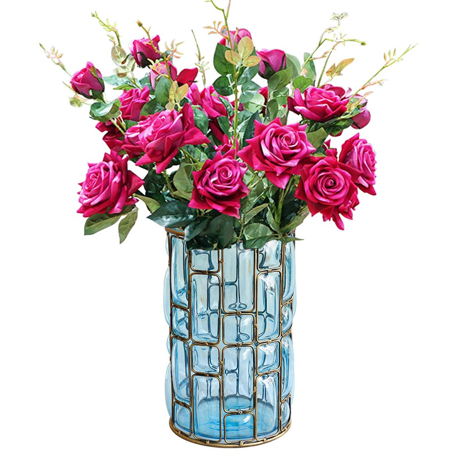 SOGA Blue Glass Flower Vase with 8 Bunch 5 Heads Artificial Rose Set