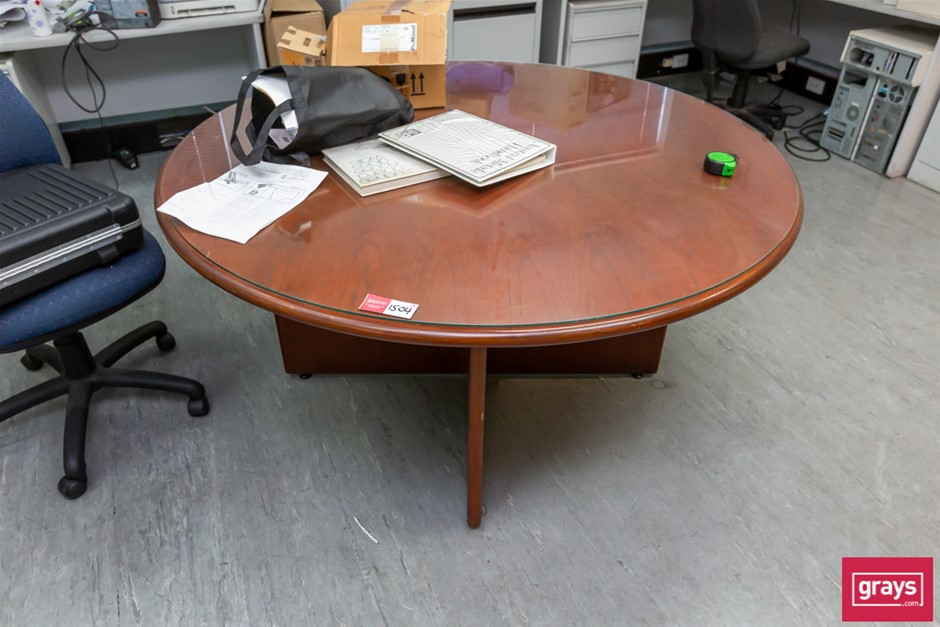 Round Timber Table with Glass Top