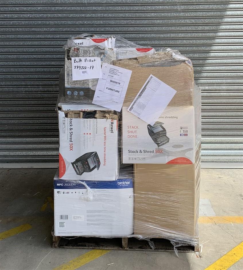 Pallet of Assorted Office Equipment, Paper Shredders, Printers