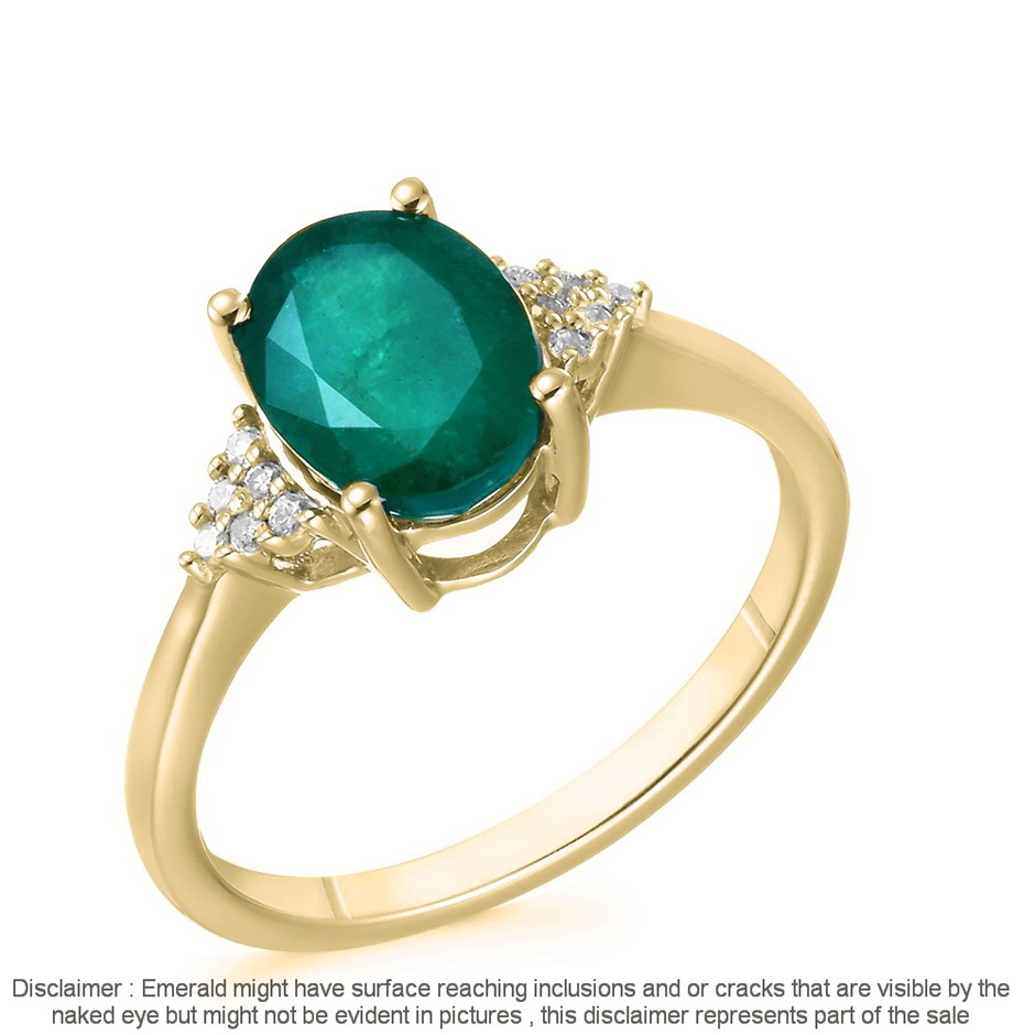 9ct Yellow Gold, 1.54ct Emerald and Diamond Ring