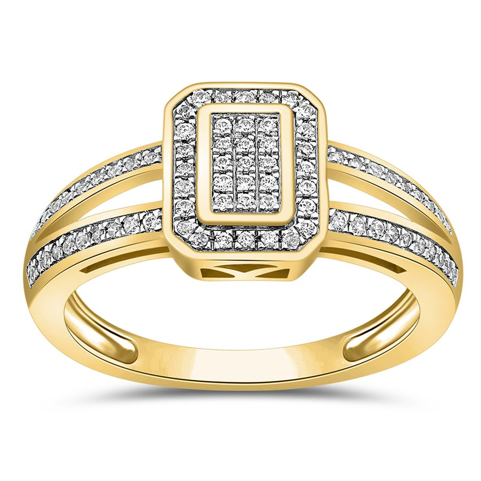 9ct Yellow Gold, 0.22ct Diamond Ring