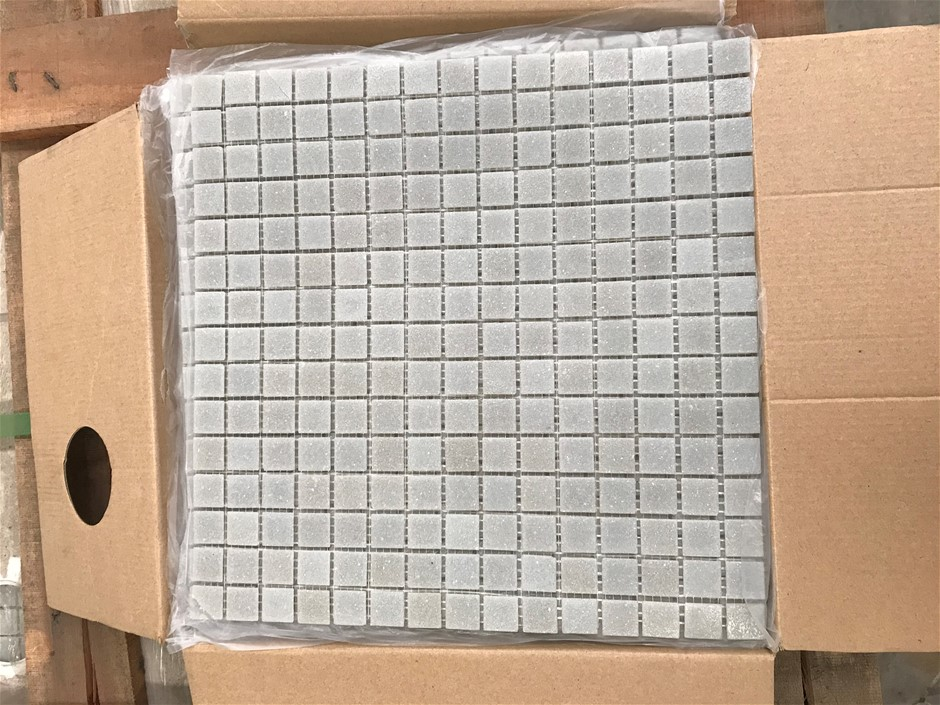 Crate of 1440 x Mosaic Glass Tiles 327mm x 327mm (Light Grey)