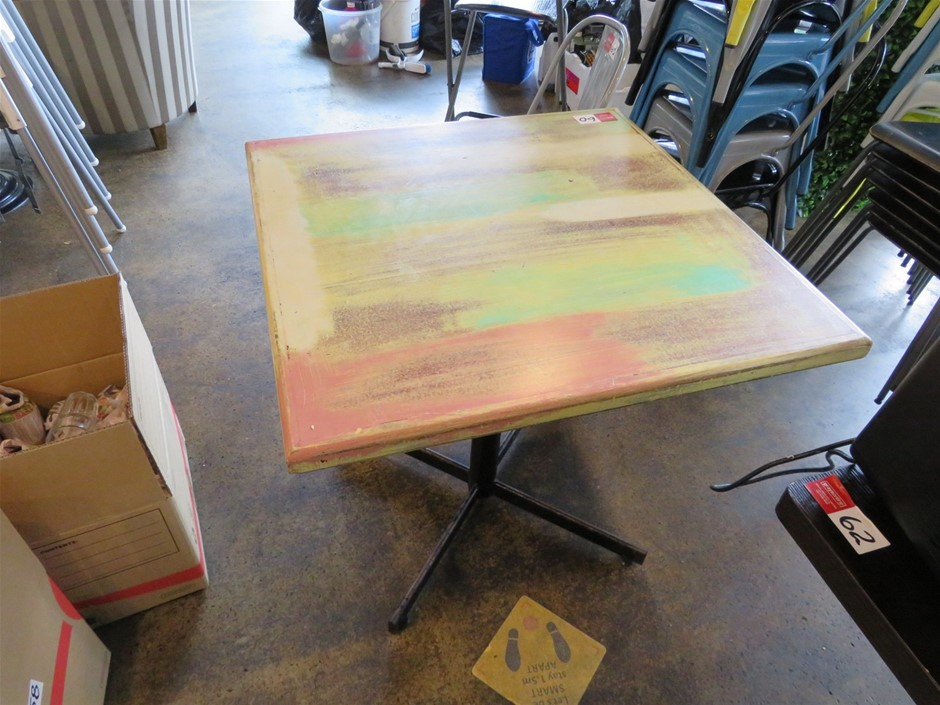 7x Assorted Café Tables - Recycled Timber Look