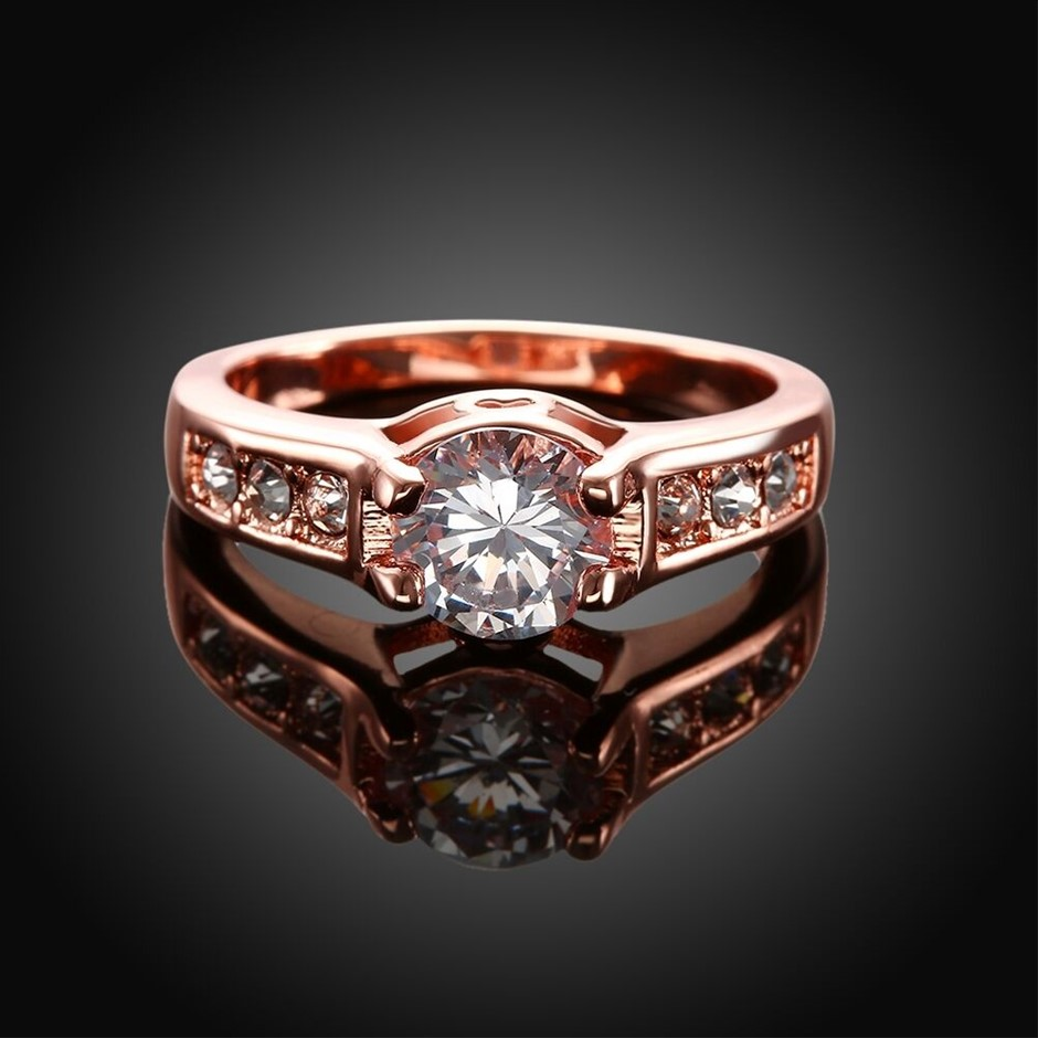 Classic 18k 18ct Rose Gold Filled GF Ring CZ Woman Size7