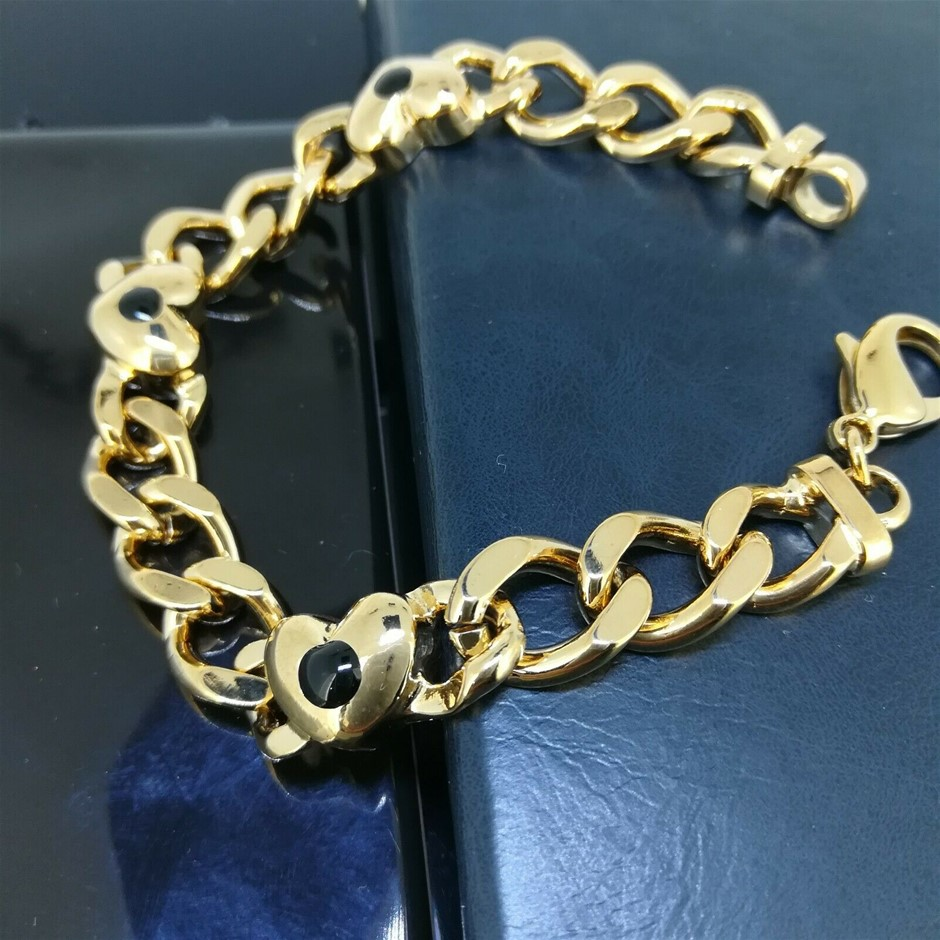 18K Yellow gold filled Heart CZ Curb Link chain bracelet