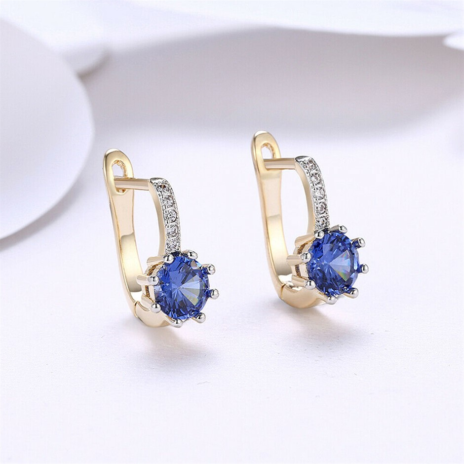 Elegant 18K Yellow Gold Filled Clear CZ Huggies Earrings