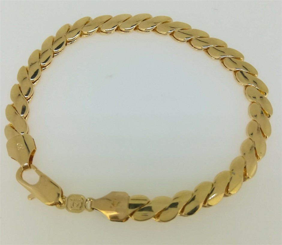18K Yellow gold filled GF Twist Pattern chain bracelet