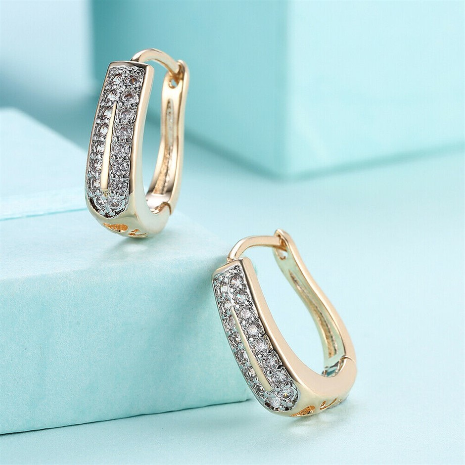 Elegant 18K Yellow Gold Filled CZ Hoop Huggies Earrings