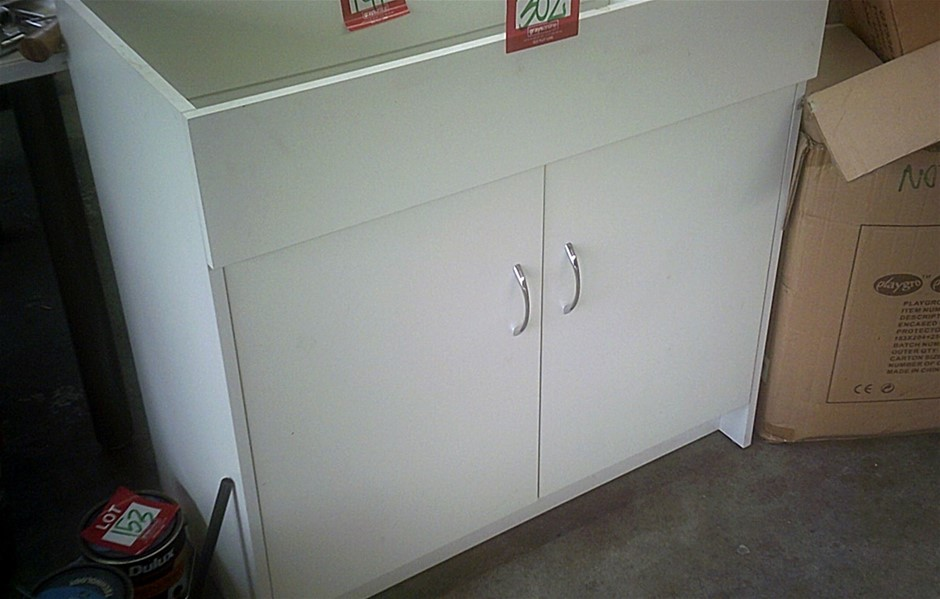 2 units of white melamine two door vanity units.600mm wide in kit form.