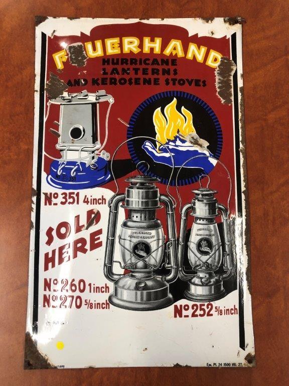 Authentic FEUERHAND Hurricane Lanterns and Kerosene Stoves Enamel Sign,