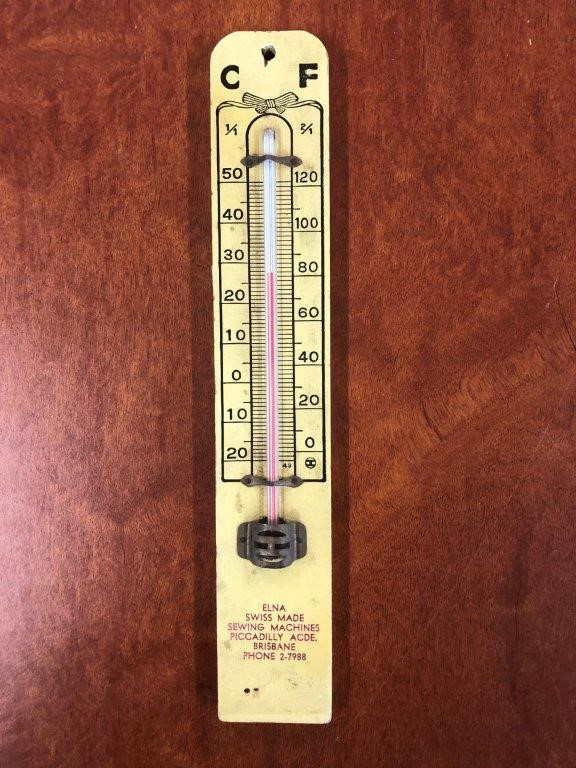 Authentic ELNA Swiss made Sowing Machines Advertising Thermometer
