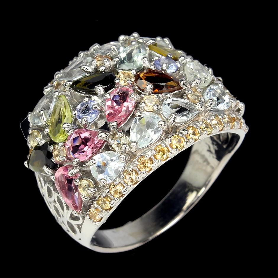 Stunning Sterling Silver Tourmaline, Aquamarine, Sapphire Ring