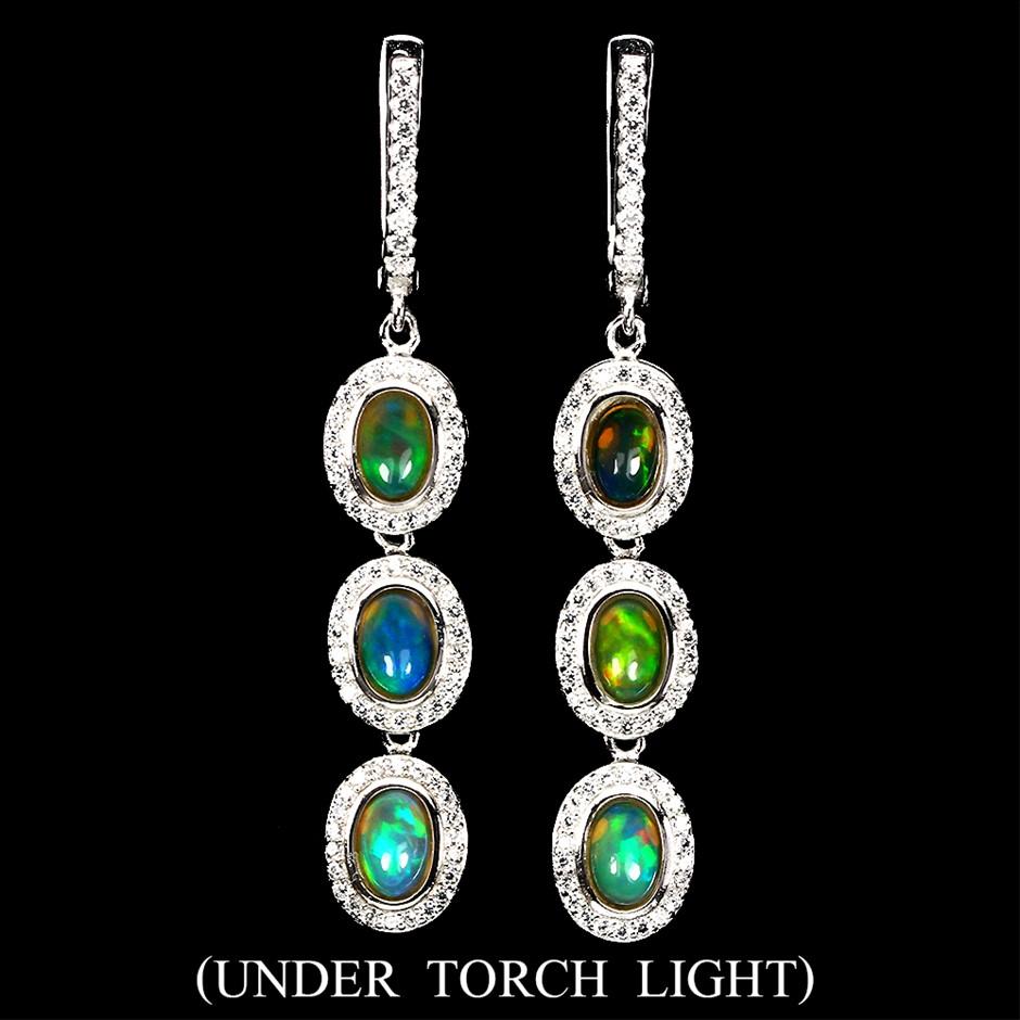 Striking Genuine Rainbow Opal Drop Earrings