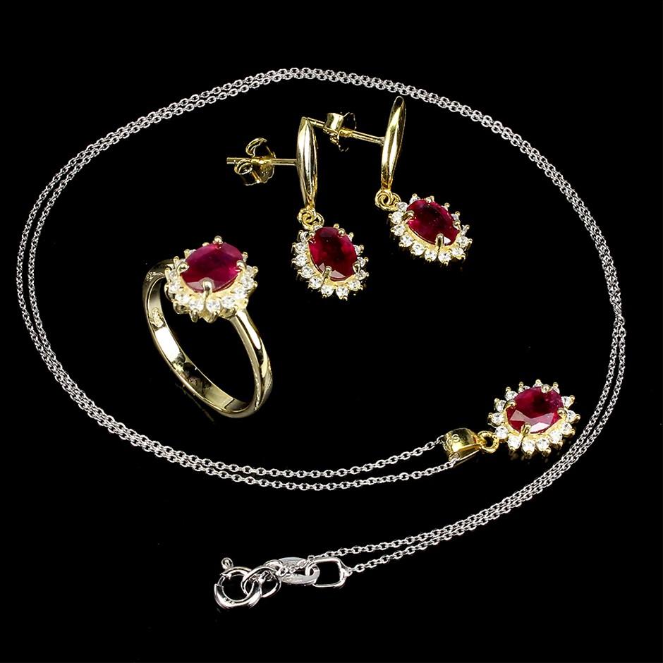 Striking Genuine Ruby Earrings Ring & Necklace Set