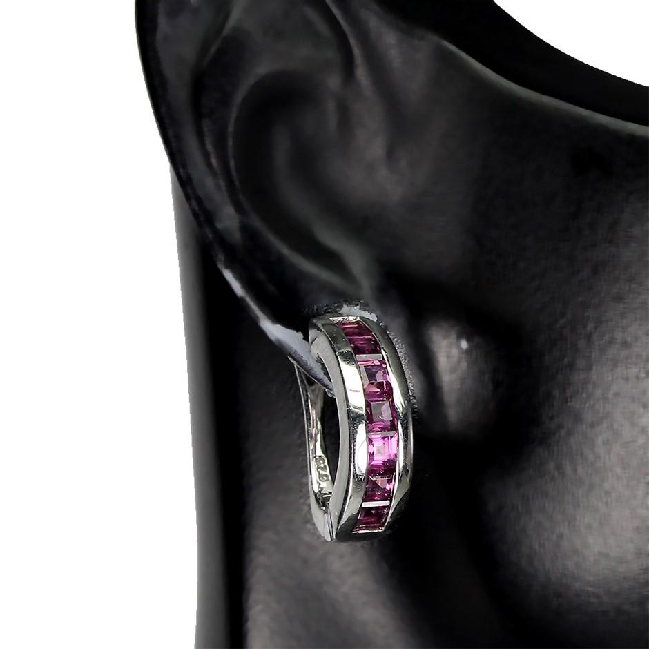 Glorious Genuine Rhodolite Garnet hoop Earrings.