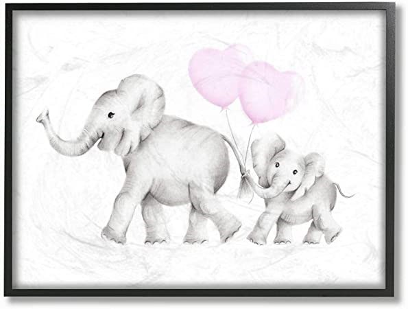 THE KIDS ROOM BY STUPELL Mama and Baby Elephants Framed Giclee Wall Art, 27