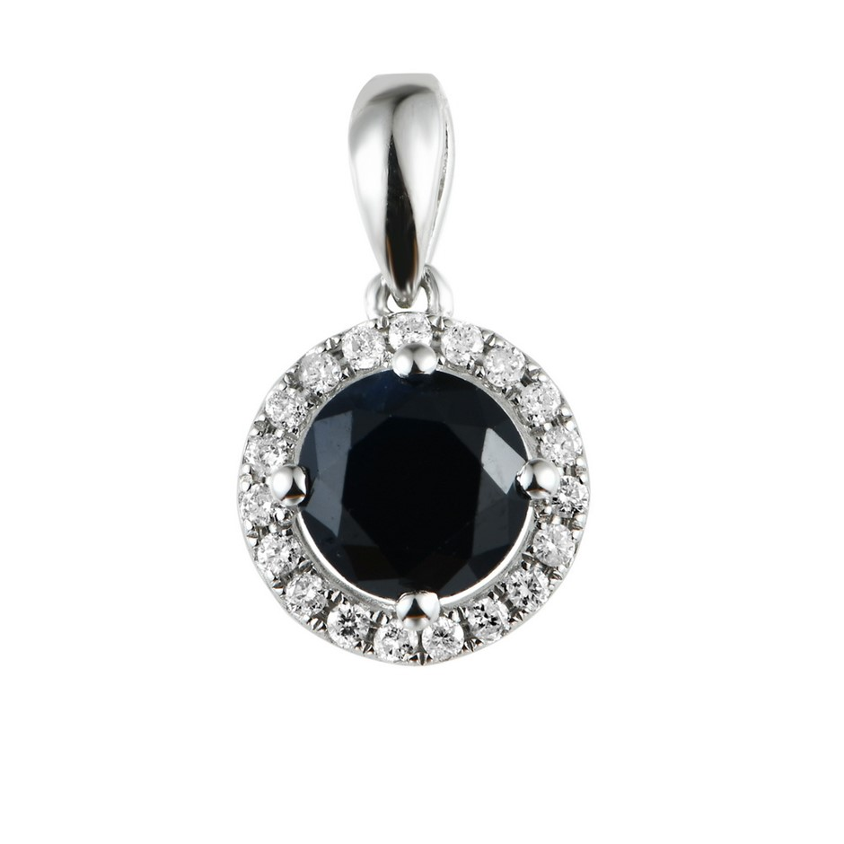 9ct White Gold, 1.34ct Blue Sapphire and Diamond Pendant
