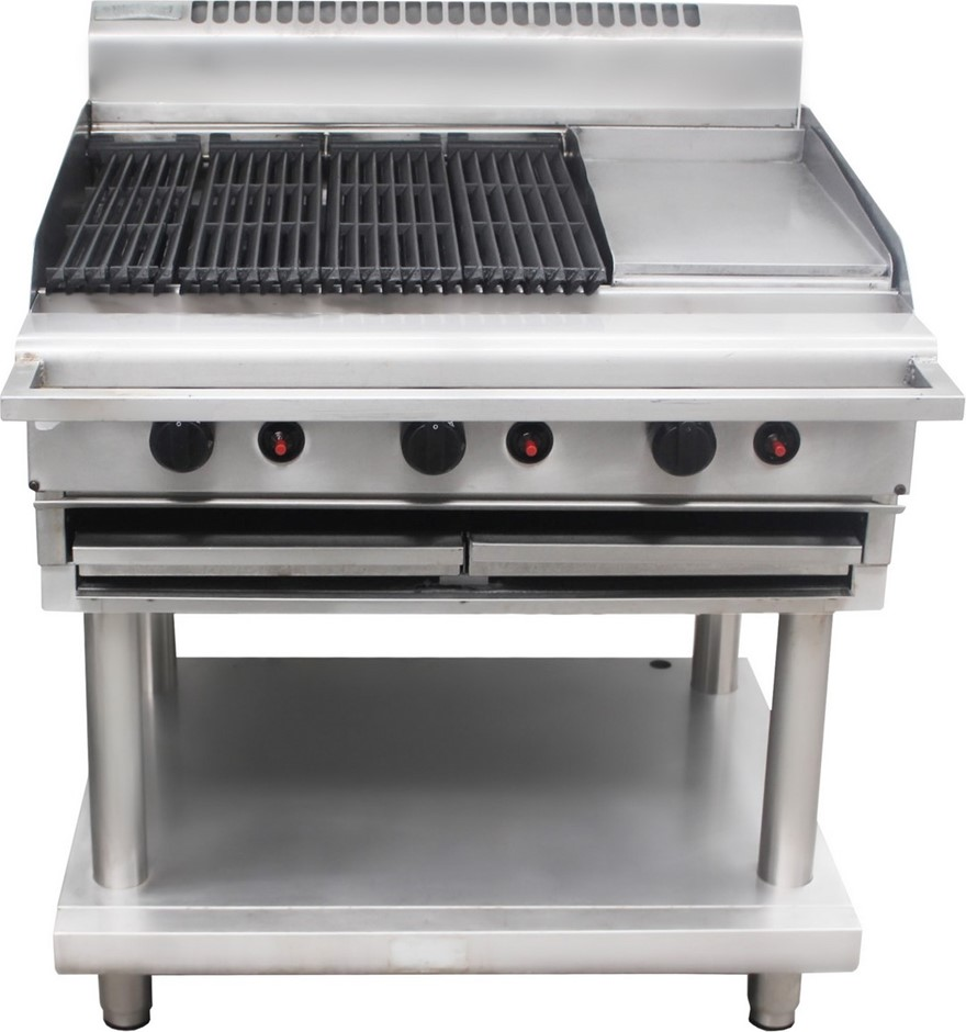 WALDORF 800 SERIES GAS 900mm CHARGRILL