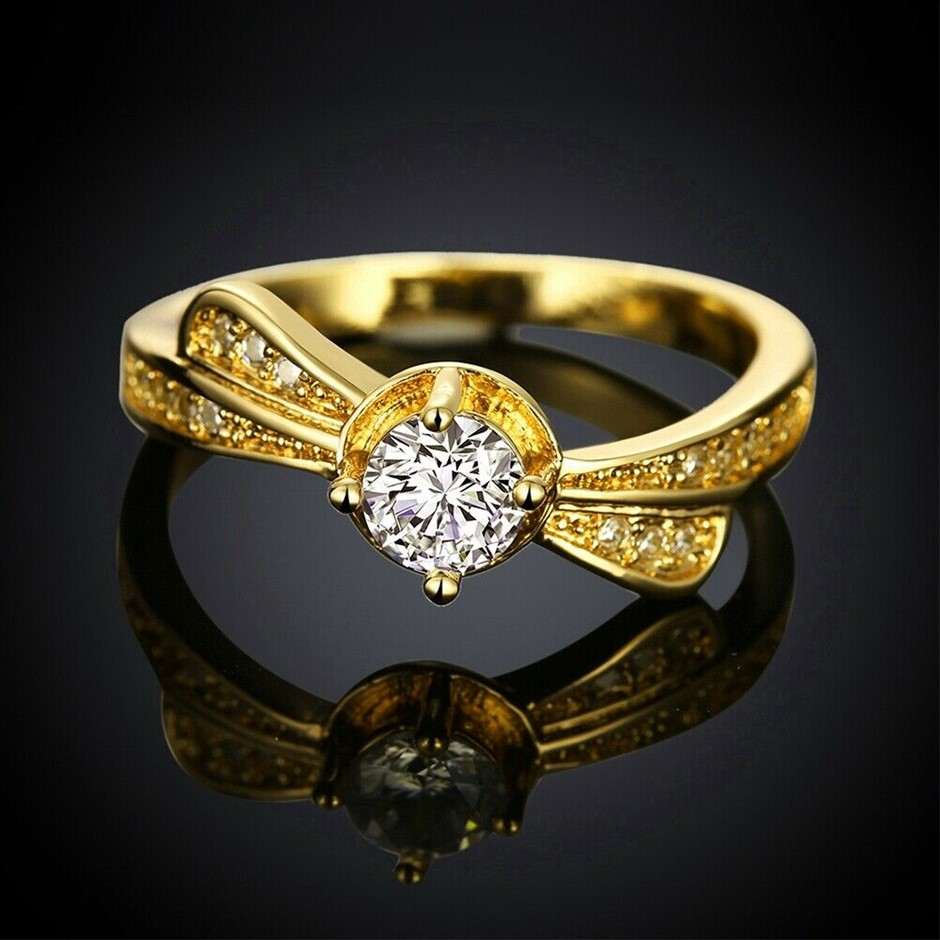 Classic 18k 18ct Yellow Gold Filled GF CZ Woman Ring Size 8