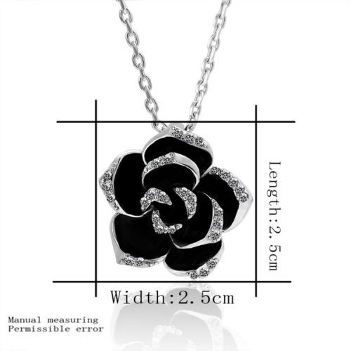 Classic 18ct White Gold filled Crystals Rose Pendant Necklace