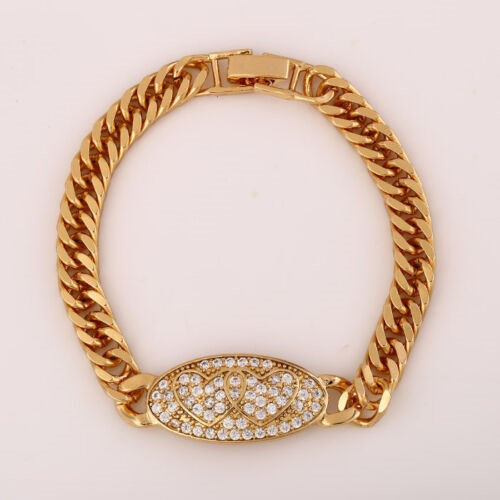 18K Yellow Gold Filled GF Oval Pendant CZ Watch Belt Bracelet