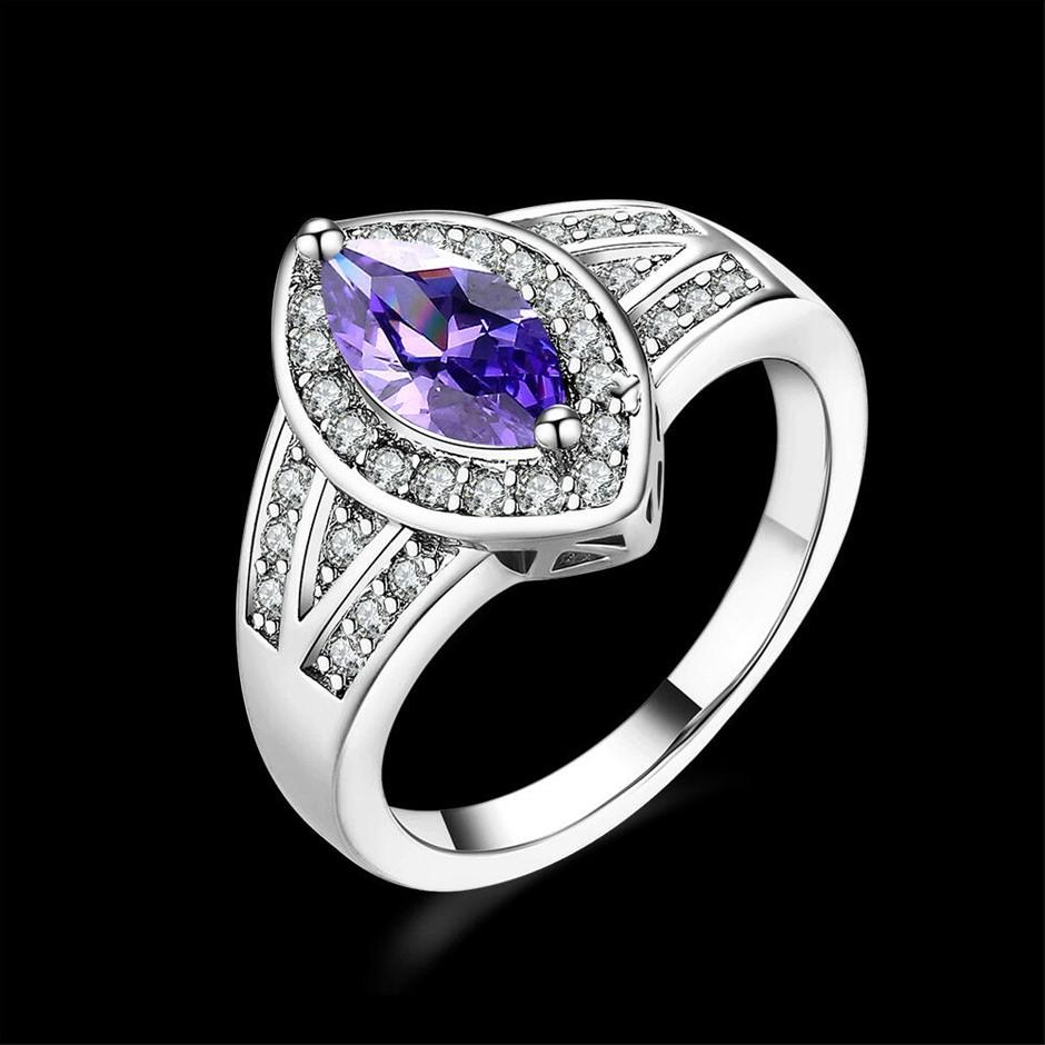 Elegant 18K White Gold Filled Blue CZ Oval Woman Wedding Ring Size 7