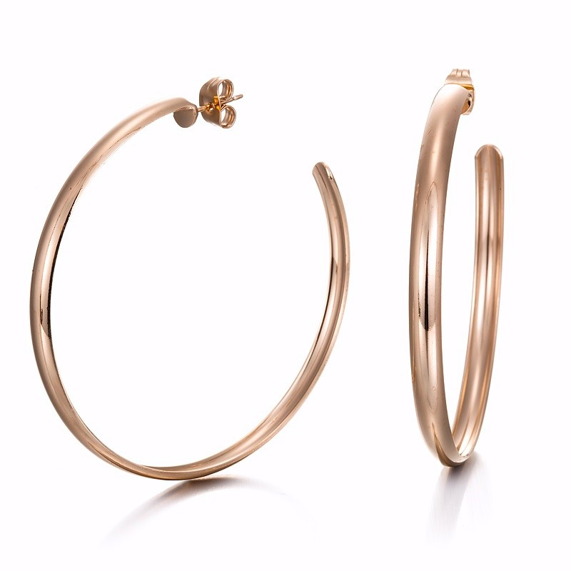 18ct Rose Gold Layered Extra Wide Hoop Earrings