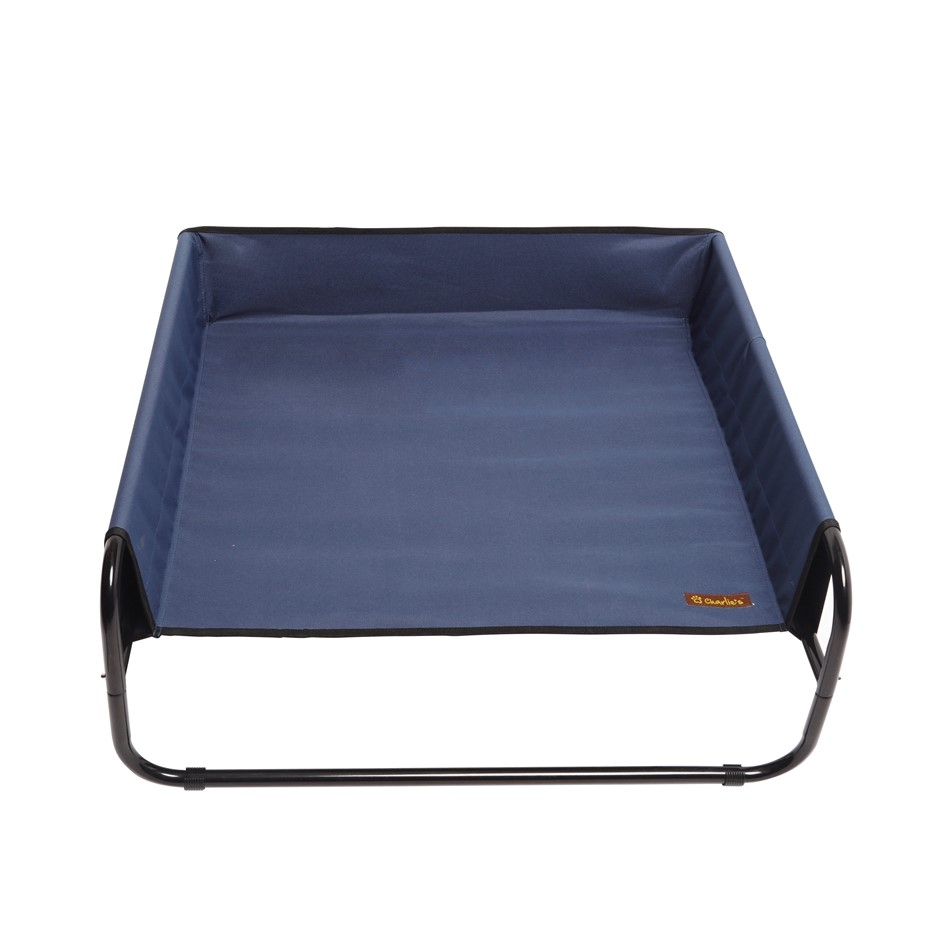 Charlie's Pet High Walled Outdoor Trampoline Pet Bed Cot - Blue -85x85x33cm