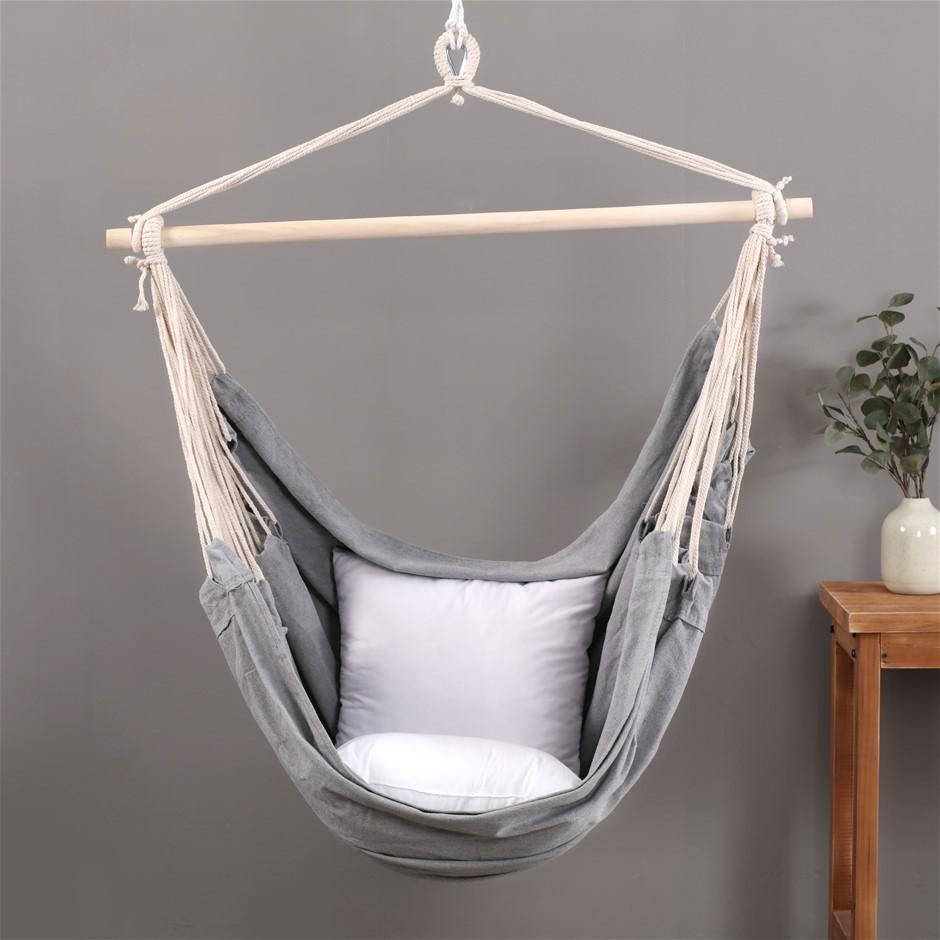 Sherwood Home Indoor & Outdoor Hammock Chair Swing - Grey - Large 125x185cm