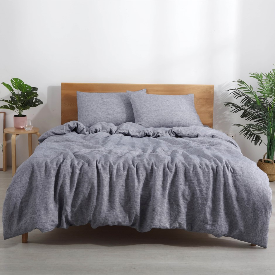 Natural Home Classic Pinstripe Linen Quilt Cover Set Single Bed Navy/White
