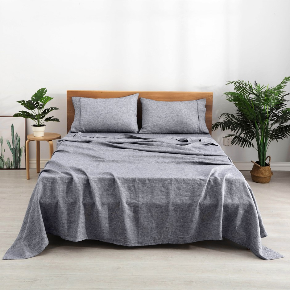 Natural Home Classic Pinstripe Linen Sheet Set King Bed Navy and White