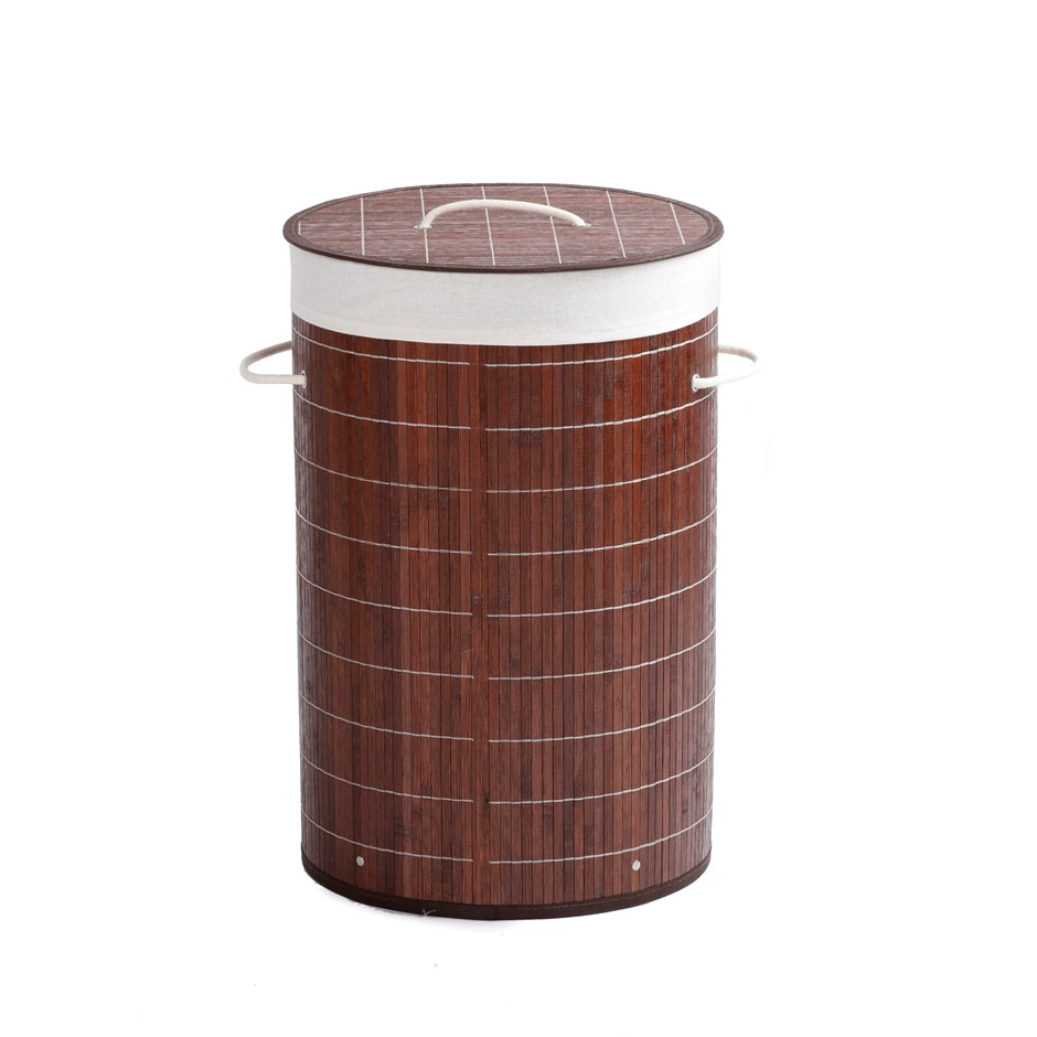 Sherwood Home Round Folding Bamboo Laundry Basket Hamper with Lid D38xH60cm