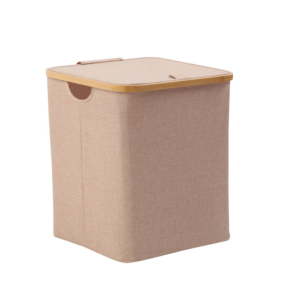 Sherwood Short Rectangular Linen and Bamboo Laundry Hamper - 40x33x43cm