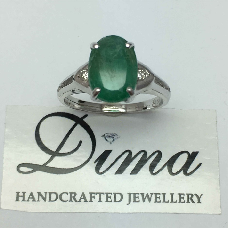 18ct White Gold, 3.32ct Emerald and Diamond Ring