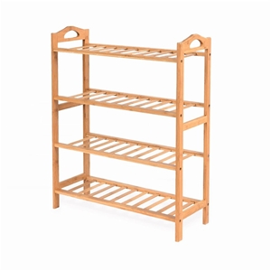 4 Tiers Layers Bamboo Shoe Rack Home Org