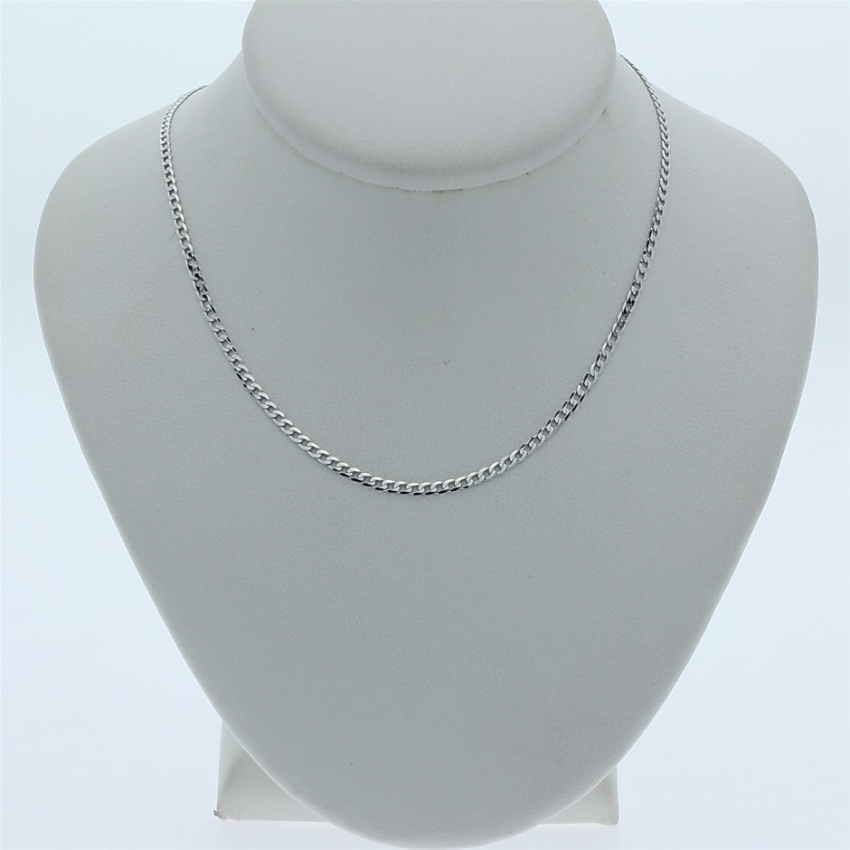 Genuine Italian 9 Karat White Gold 45 cm curb chain necklace