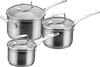 SCANPAN Impact Saucepan 3 Piece Set, Stainless Steel SILVER. Buyers Note -