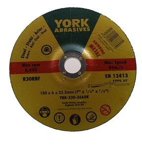 10 x YORK Metal Grinding Discs 180x6x22.