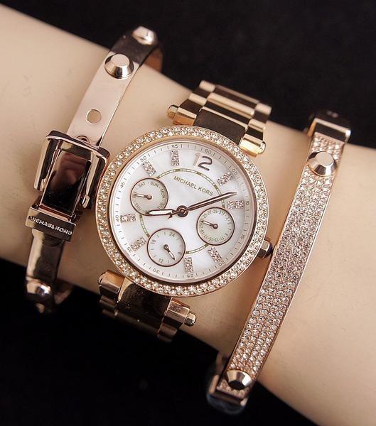 Ladies newMichael Kors Couture Parker chrono. diamante watch.