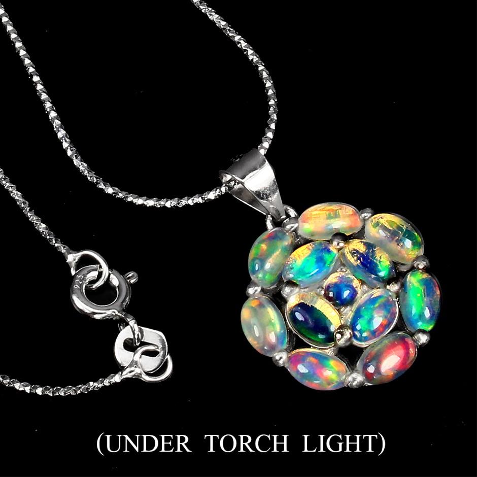 Beautiful genuine Rainbow FireOpal Pendant & Chain