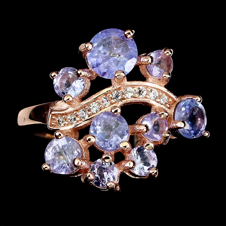 Beautiful Genuine Tanzanite Cluster Ring