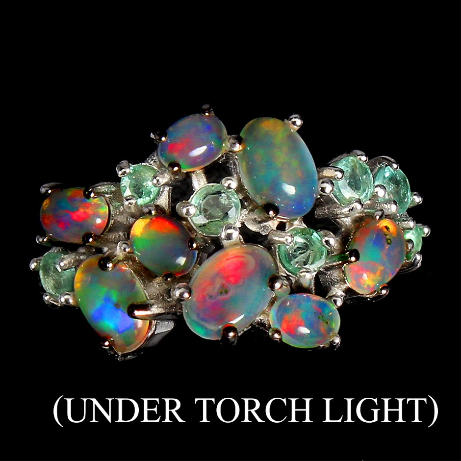 Beautiful Genuine Rainbow Fire Opal & Emerald Ring.